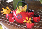 Chinese tea pots with orchids