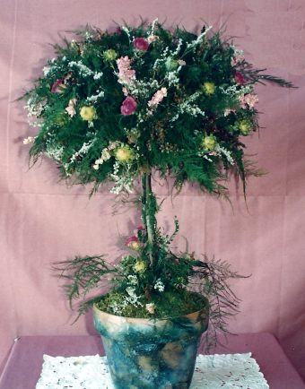 Topiary made with Plumosum and larkspur. By Barbara Rothchild