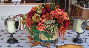 Silk and dried flowers arrangement