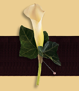 Calla Lily boutonniere with edera leaves