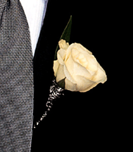 White rose boutonniere with wire tie
