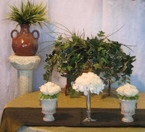 Preserved White Roses, and Ivy Foliage