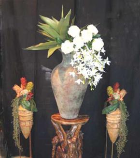 Large urn flower arrangement