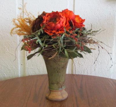Artificial Roses in green ceramic