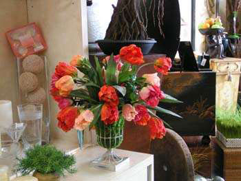 Artificial tulips in wire urn