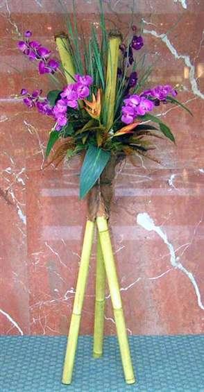 Tripod bamboo design with purple phalenopsis by: Paolo Calvenzani