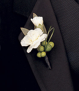 White mini carnations boutonniere with berries