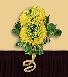 Green buttons boutonniere with tie