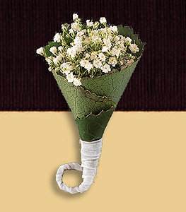 Gypsophilia boutonniere with twisted galax leaves