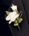 Mini white carnations boutonniere