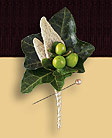 boutonniere made with Hedera, berries, leaf