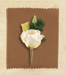White lisianthus boutonniere with fern