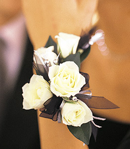 White mini roses corsage with accents of caspia and ribbon