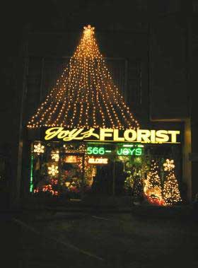 Christmas decorations at Joys Florist