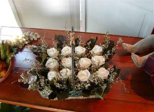 Garden Basket with preserved white Roses