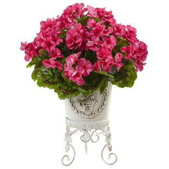 Geranium silk flower design in white container
