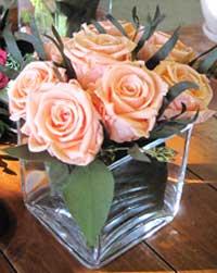 Modern rose flower design in cube