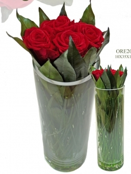Red preserved roses in glass