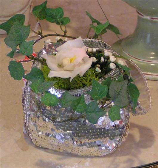Silver purse orchid design