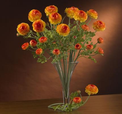 silk flower orange Ranuculus