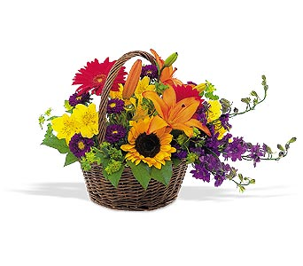 Flower deign in basket. Country style