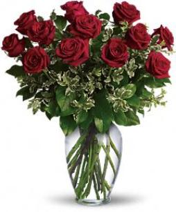 Valentine Day 1 dozen red roses. Classical rose arrangement