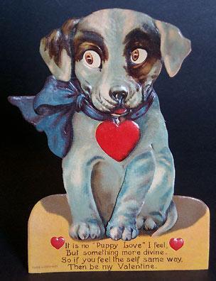 Valentine puppy postcard
