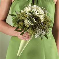 wedding bridal bouquet green scheme